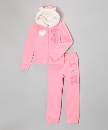 Neon Pink 'Love' Faux Fur Hoodie & Sweatpants - Toddler & Girls