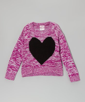 Purple & Black Heart Sweater - Girls
