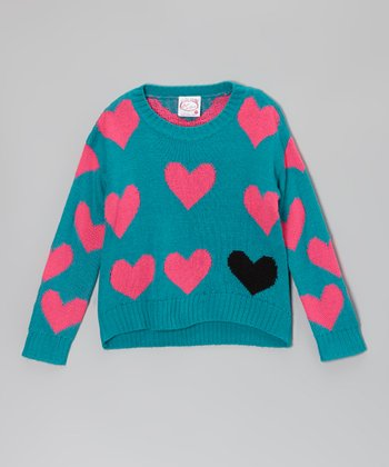 Blue & Hot Pink Heart Sweater