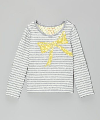 Heather Gray & White Stripe Bow Tee - Girls
