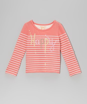 Neon Sugar Coral Stripe Sequin 'Happy' Tee - Girls