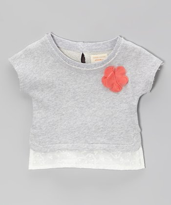 Heather Gray Rosette Lace-Trim Sweatshirt - Girls