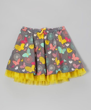 Medium Slate & Yellow Butterfly Skirt - Girls