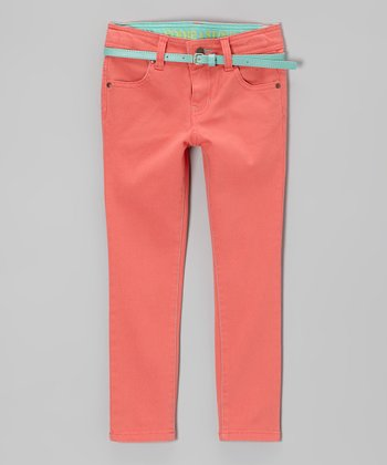 Sugar Coral Belted Straight-Leg Jeans - Toddler & Girls