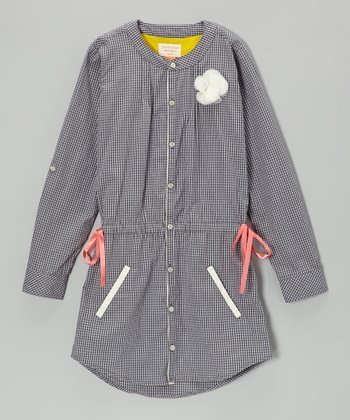 Medium Slate Gingham Button-Up Dress - Girls