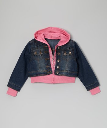Pink Layered Hooded Denim Jacket - Girls
