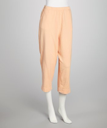 Apricot Cozy French Terry Pull-On Capri Pants - Women