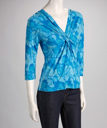 Bright Blue Floral Ocean Waters Twist Front Top - Women