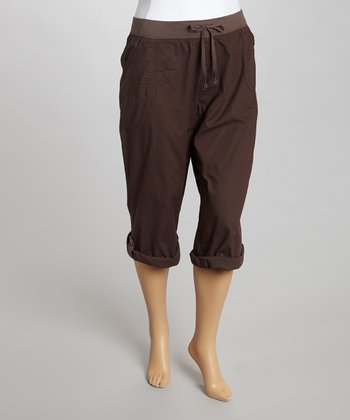Coffee Drawstring Getaway Clam Digger Pants - Plus