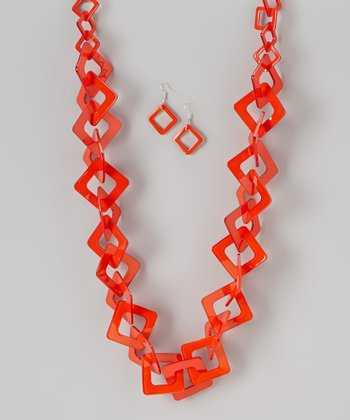 Orange Square Necklace & Earrings