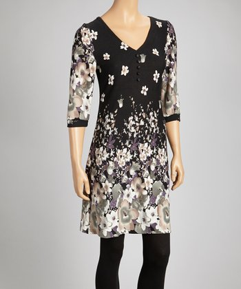Black & Beige Floral Dress