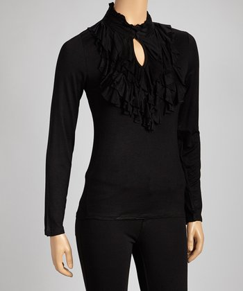 Black Ruffle Long-Sleeve Tee