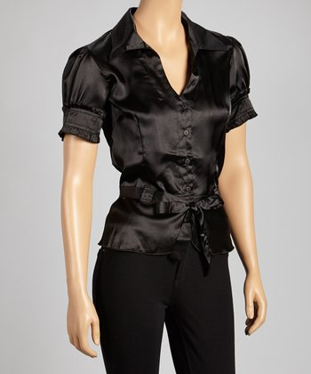 Black Belted Button-Up