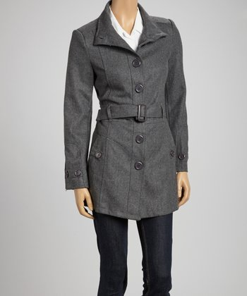 Charcoal Wool-Blend Belted Jacket