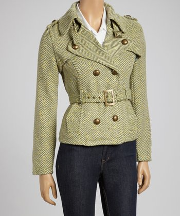 Green Herringbone Tweed Wool-Blend Double-Breasted Coat