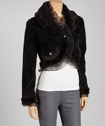 Black Plush Ruffle Jacket