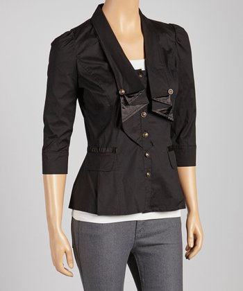 Black Three-Quarter Sleeve Blazer