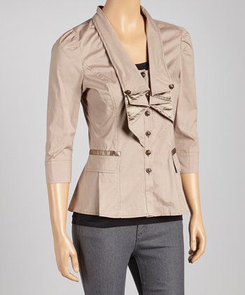 Tan Three-Quarter Sleeve Blazer