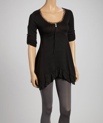 Black Lace Trim Sidetail Tunic