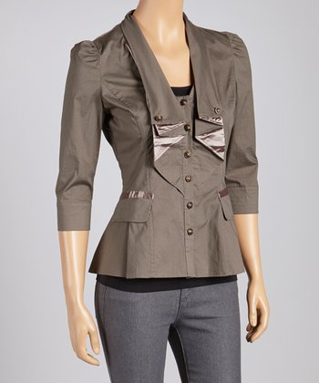 Brown Three-Quarter Sleeve Blazer