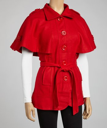 Red Wool-Blend Cape Jacket