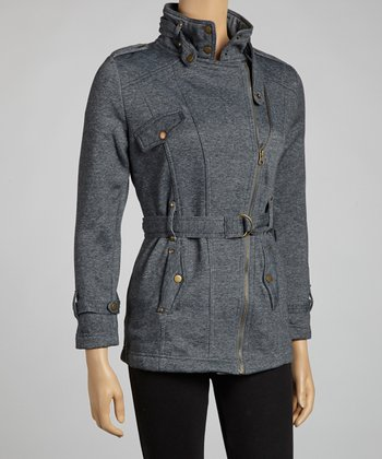 Charcoal Asymmetrical Zipper Belted Jacket
