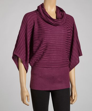 Grape Cowl Neck Dolman Sweater