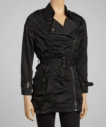 Black Asymmetrical Belted Jacket