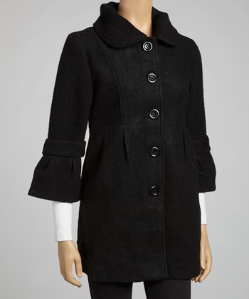 Black Wool-Blend Bell-Sleeve Coat