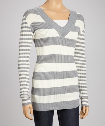 Off-White Stripe V-Neck Sweater
