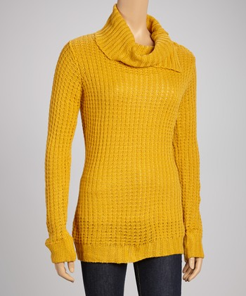 Mustard Cowl Neck Sweater