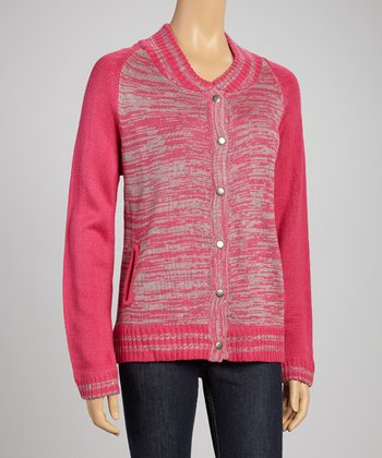 Magenta Button-Up Sweater