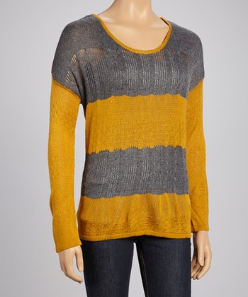 Mustard Loose Cable Knit Sweater