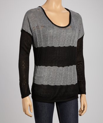 Black & Gray Loose Cable Knit Sweater