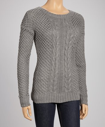 Heather Gray Cable Knit Sweater