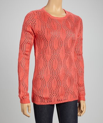 Coral Sheer Wave Sweater
