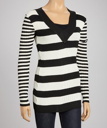 Black & Off-White Stripe V-Neck Sweater