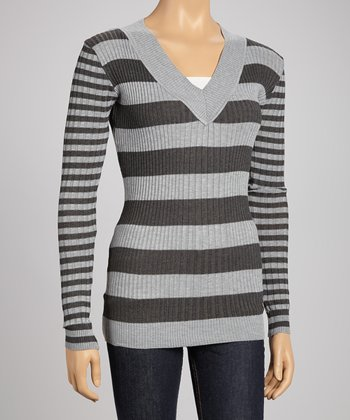 Heather Gray & Charcoal Stripe V-Neck Sweater