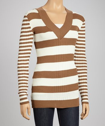 Light Brown Stripe V-Neck Sweater