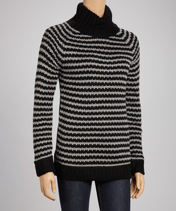 Black & Gray Stripe Turtleneck Sweater