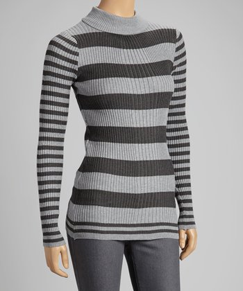 Heather Gray Stripe Turtleneck Sweater
