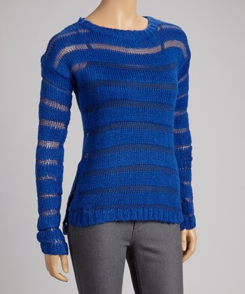 Royal Blue Sheer-Stripe Sweater