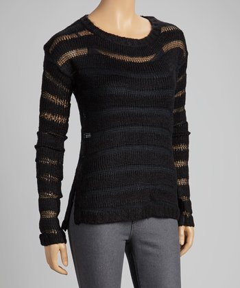 Black Sheer-Stripe Sweater
