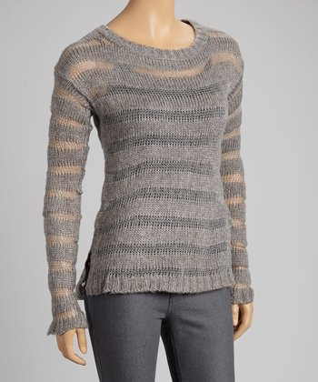 Heather Gray Sheer-Stripe Sweater