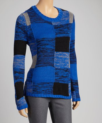 Royal Blue Plaid Sweater