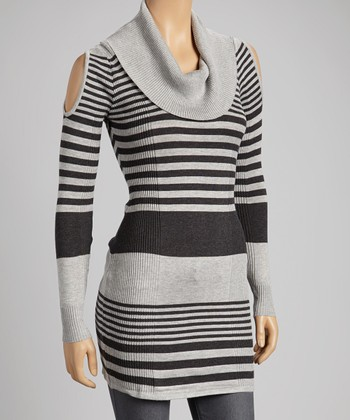 Gray & Charcoal Stripe Cowl-Neck Sweater