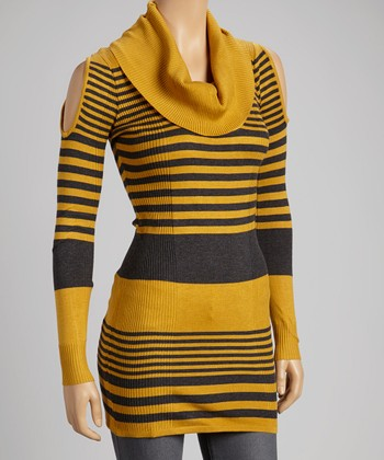 Mustard & Charcoal Stripe Cowl-Neck Sweater