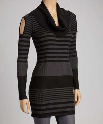 Black & Charcoal Stripe Cowl-Neck Sweater