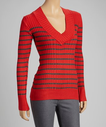 Red & Charcoal Stripe V-Neck Sweater