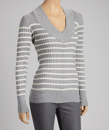 Heather Gray & Off-White Stripe V-Neck Sweater